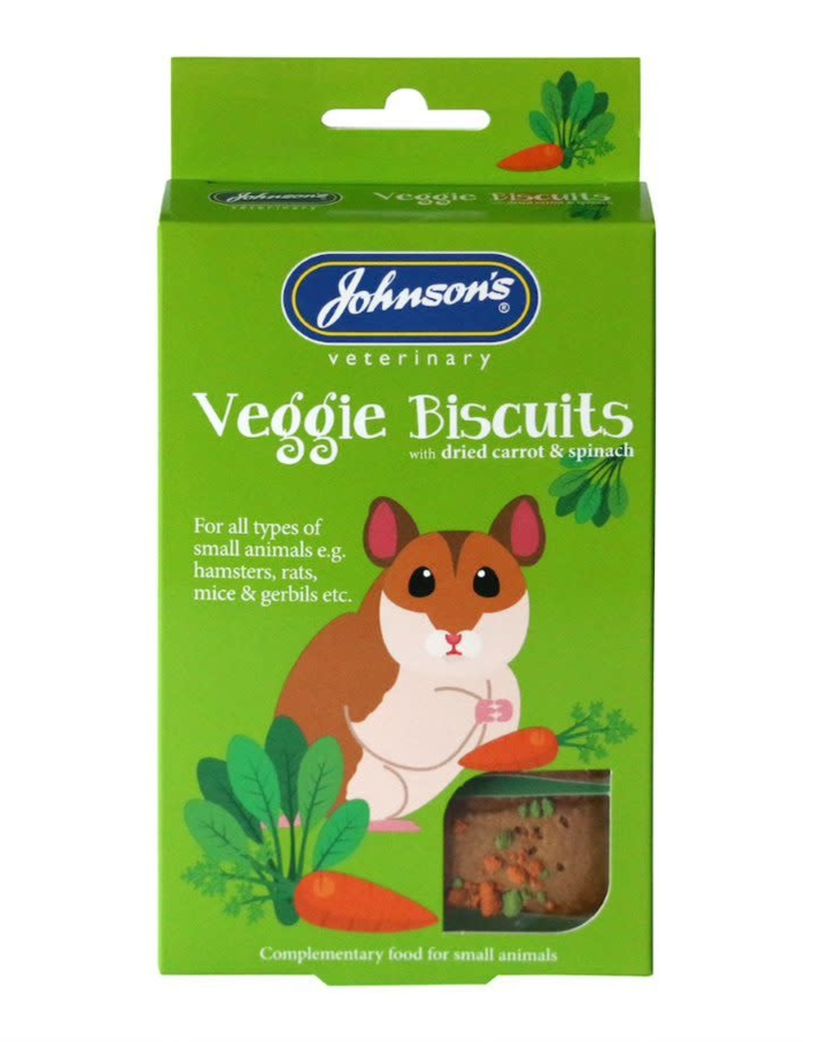 Johnsons Veggie Biscuits Treats with Dried Carrot & Spinach for Small Animals