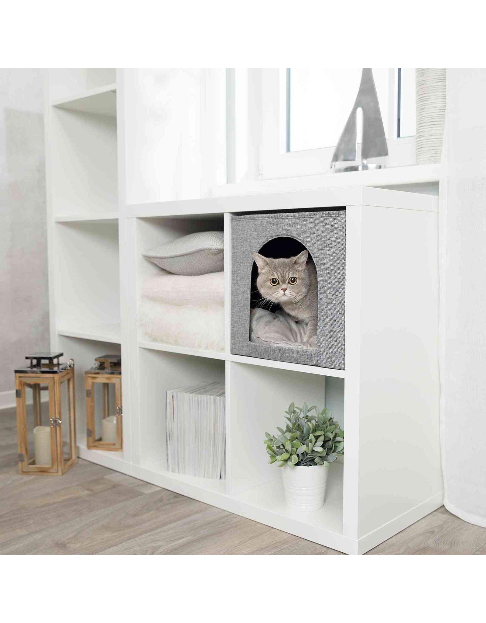 Trixie Ella Cat Cave Bed, Grey, 33 × 33 × 37 cm IKEA Shelf compatible