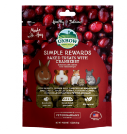 Oxbow Simple Rewards Baked Treats for Small Animals, Cranberry, 85.5g