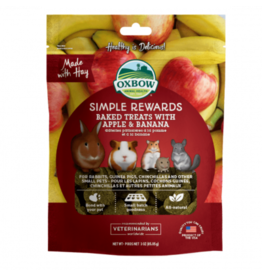 Oxbow Simple Rewards Baked Treats for Small Animals, Apple & Banana, 85.5g