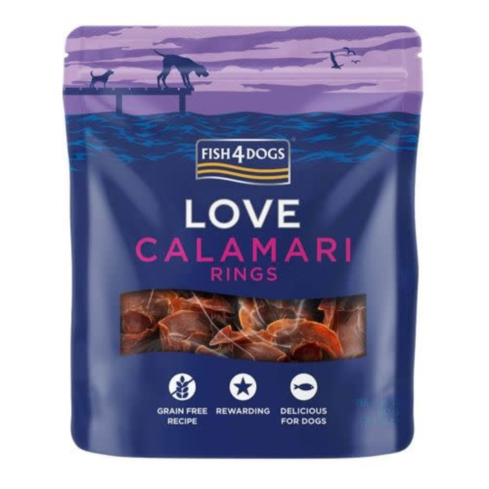 Fish4Dogs Love Calamari Rings Treats for Dogs, 60g