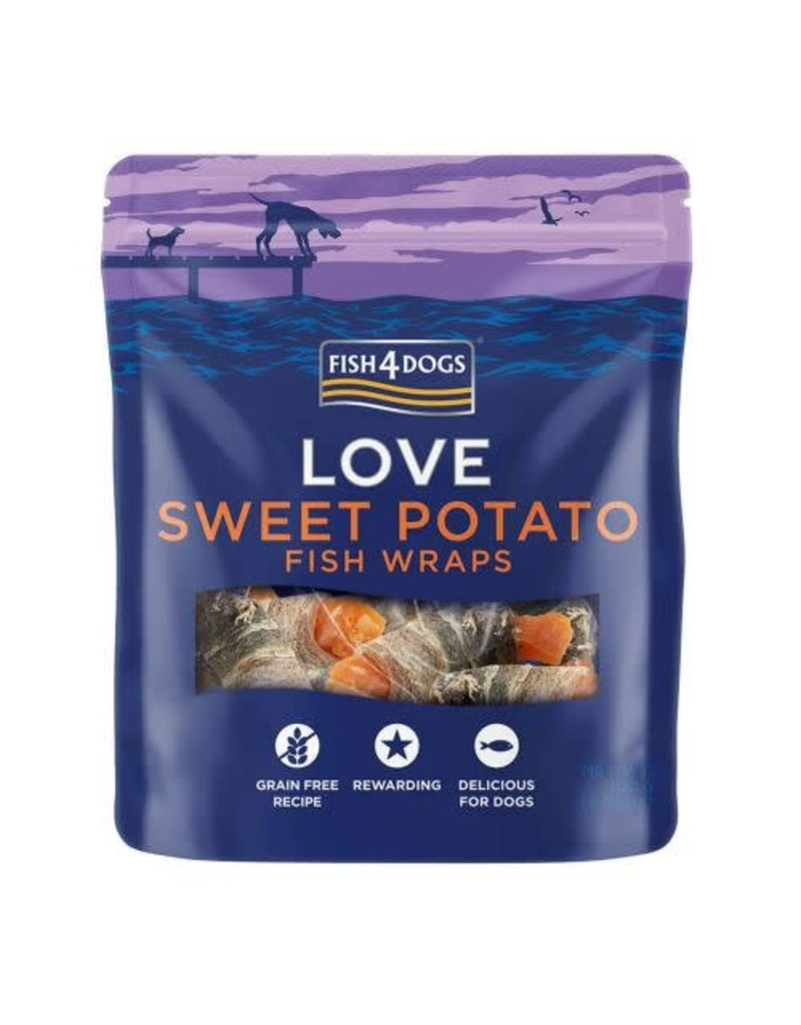 Fish4Dogs Love Sweet Potato Fish Wraps Dog Treats, 100g