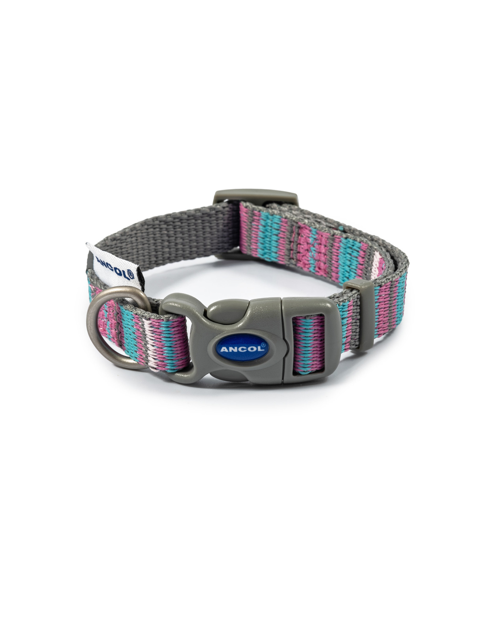 Ancol Adjustable Dog Collar Made From Recycled Materials, Pink Candy Stripe