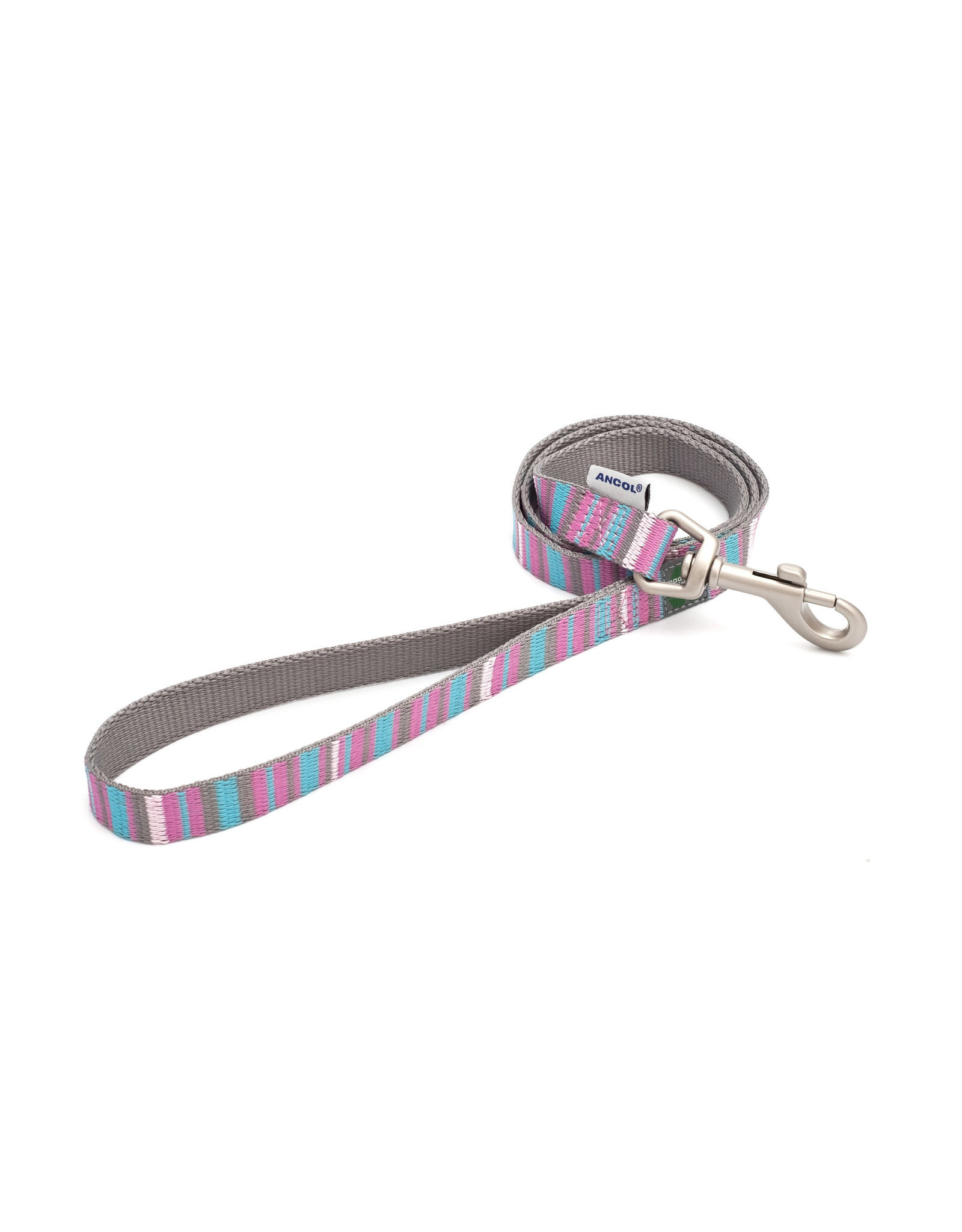 Ancol Dog Lead Made From Recycled Materials, Pink Candy Stripe, 100 x 1.9cm