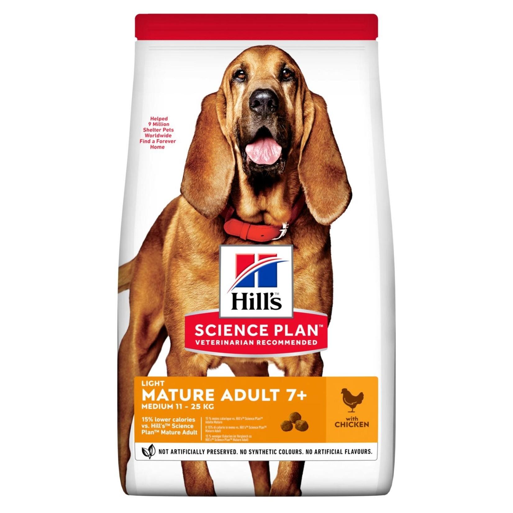 Hill's Science Plan Light Mature Adult 7+ Medium 11-25kg Dog Dry Food, Chicken, 14kg