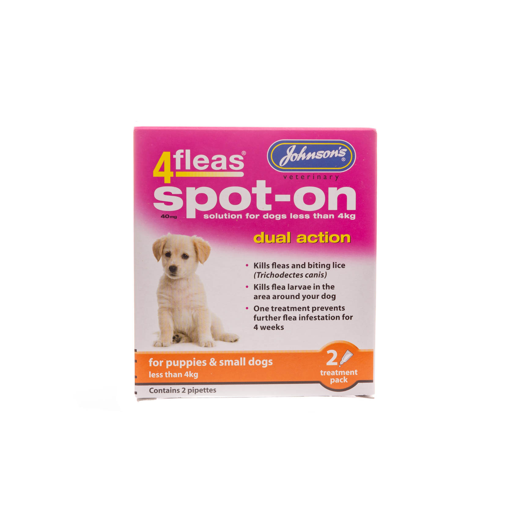 Johnson's Veterinary 4Fleas Spot-on Dual Action Flea & Tick for Puppies & Small Dogs up to 4kg