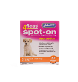 Johnsons Veterinary 4Fleas Spot-on Dual Action Flea & Tick for Puppies & Small Dogs up to 4kg