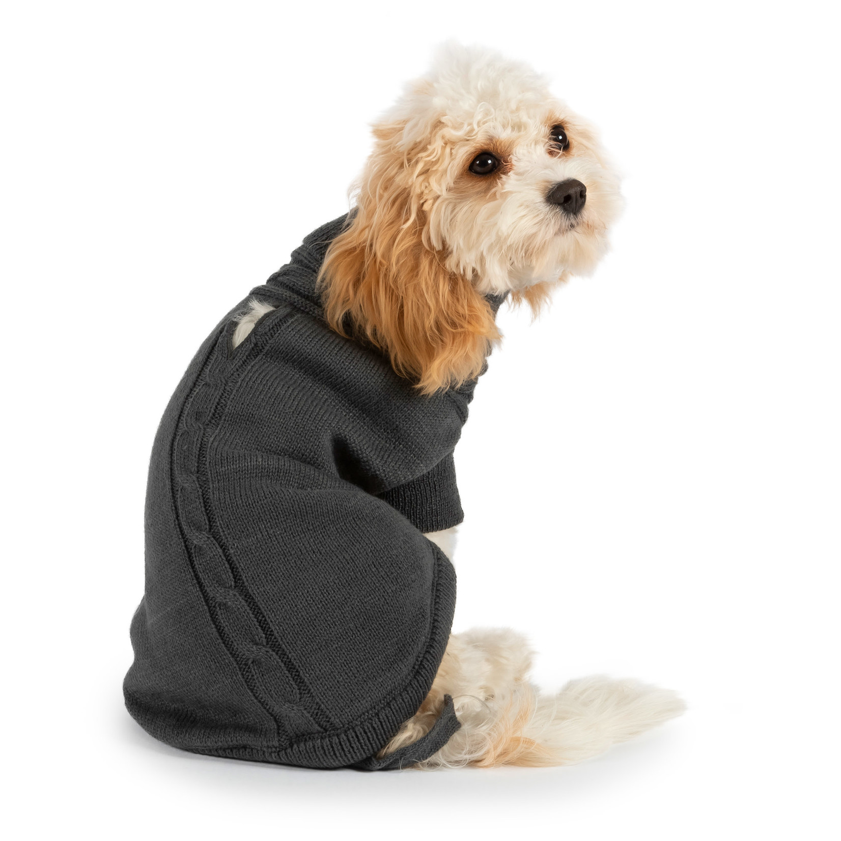 Ancol Cable Knit Dog Jumper in Grey
