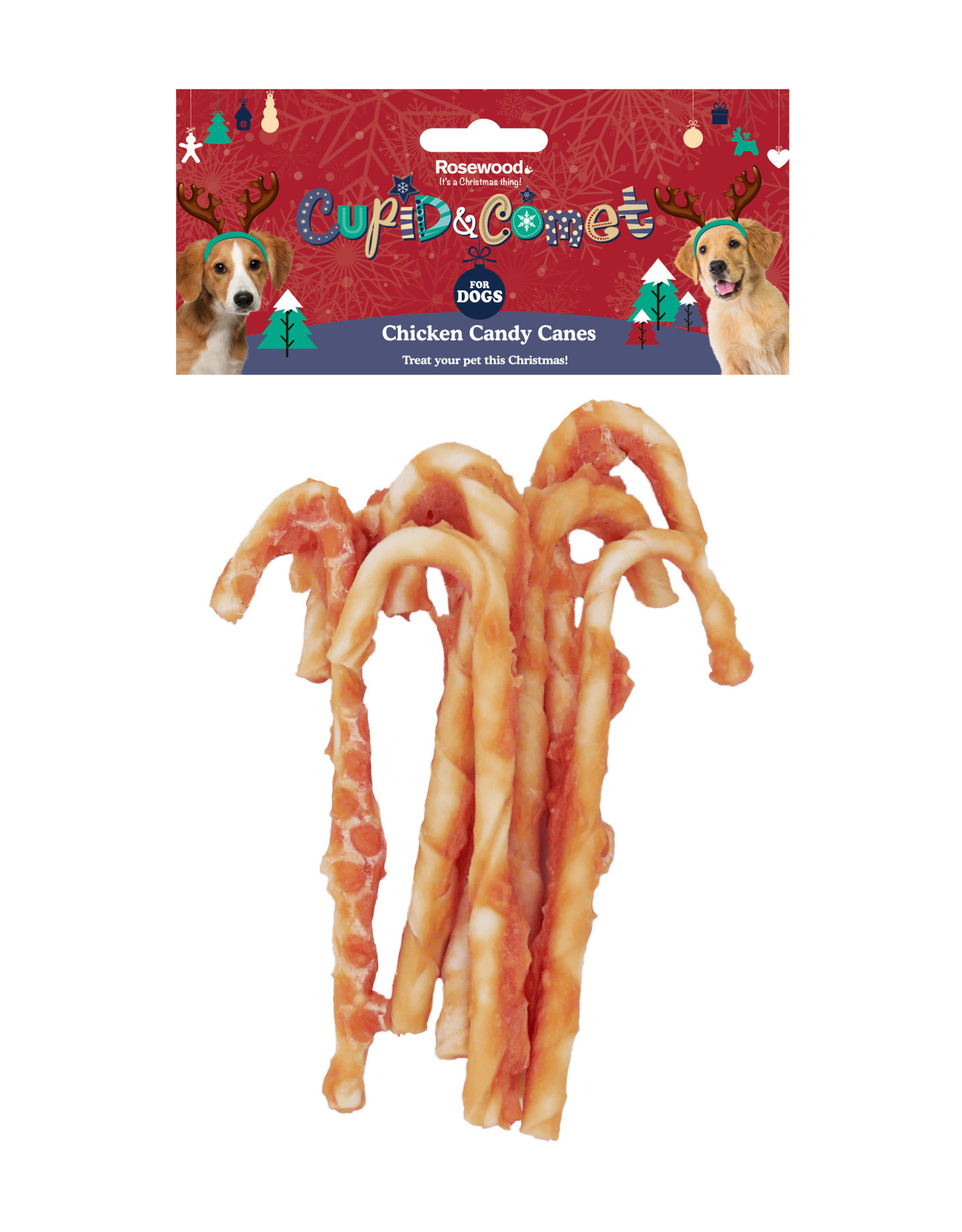 Rosewood Christmas Chicken Candy Canes Dog Treats, 90g