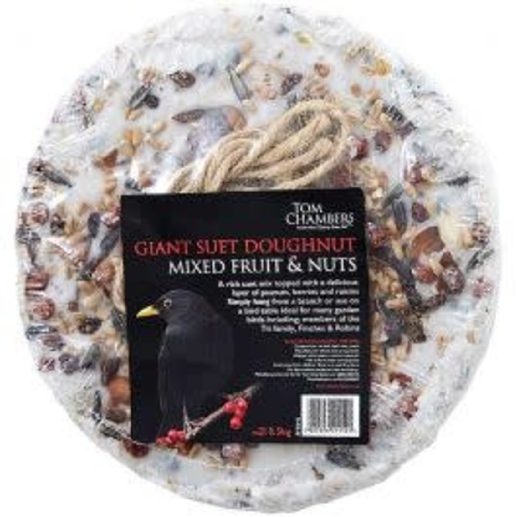 Tom Chambers Giant Suet Doughnut Mixed Fruits & Nuts Wild Bird Treat