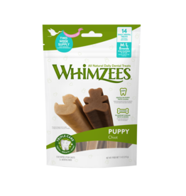 Whimzees Puppy Natural Daily Dental Dog Chew Treat, Medium-Large, 7 pack