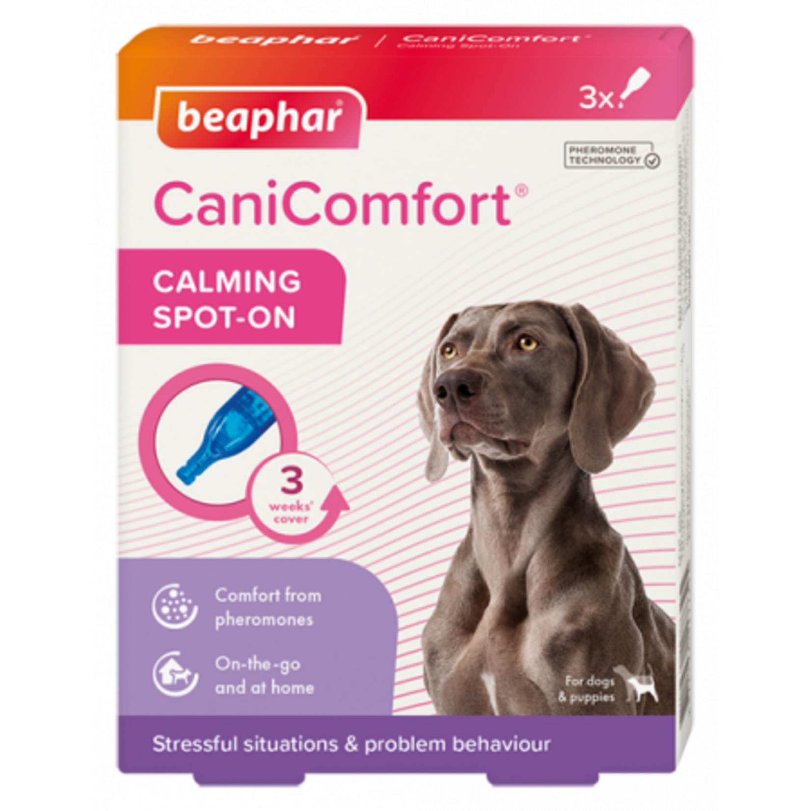 Beaphar CaniComfort Calming Spot-On with Dog Appeasing Pheromones, 3 pack