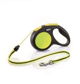 Flexi Extending Dog Lead, Neon Reflect, Medium, Cord 5m, Yellow