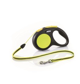 Flexi Extending Dog Lead, Neon Reflect, Small, Cord 5m, Yellow