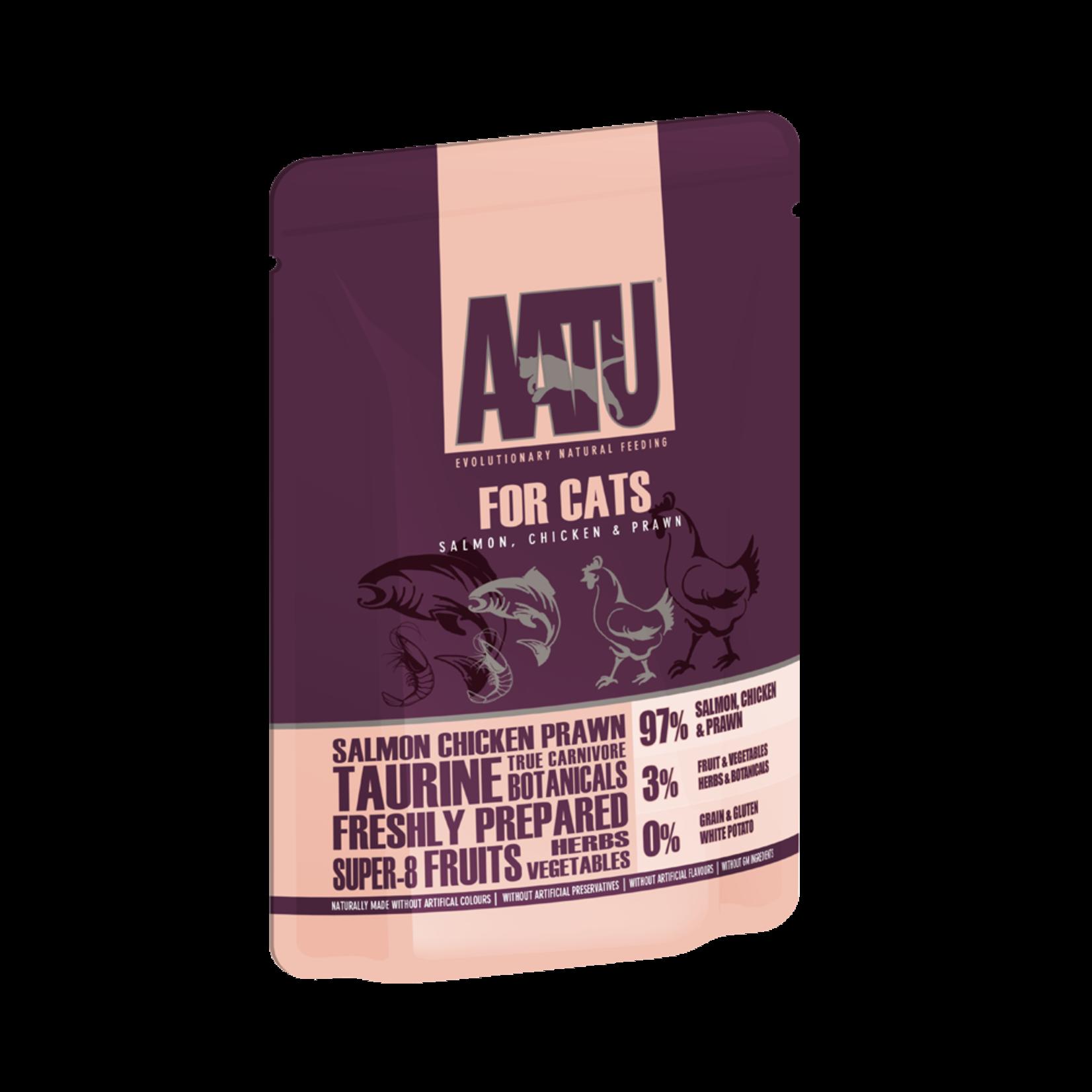 AATU Salmon, Chicken & Prawn Adult Cat Wet Food Pouch, 85g