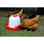 Supa Deluxe Heavy Duty Red & White Plastic Poultry Drinker, 6 litre