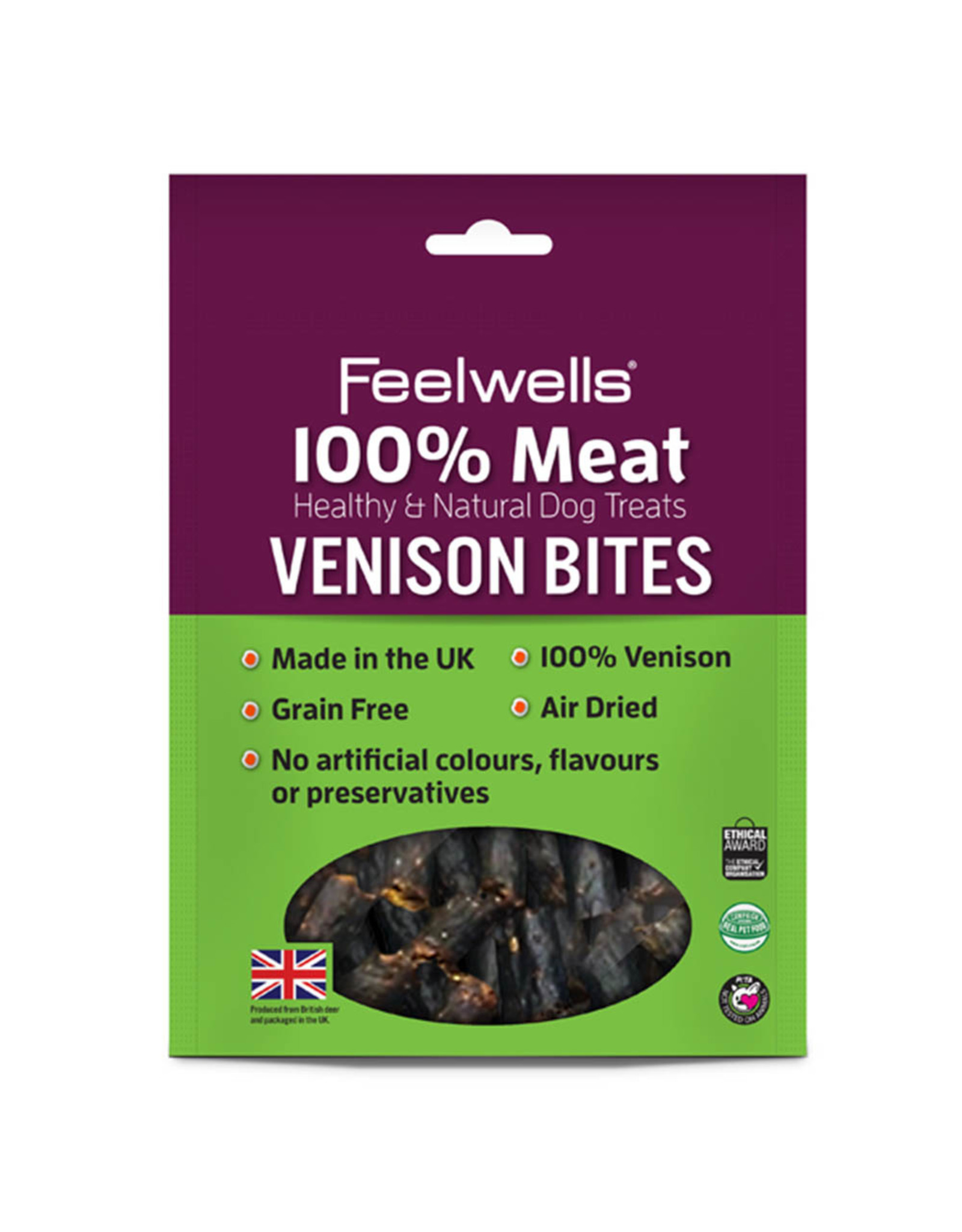 Feelwells 100% Meat Healthy & Natural Dog Treats Venison Bites, 100g