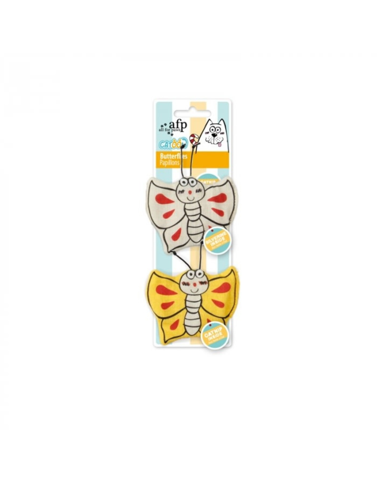 All For Paws Cotton 'Catoon' Butterflies Cat Toy, 2 pack