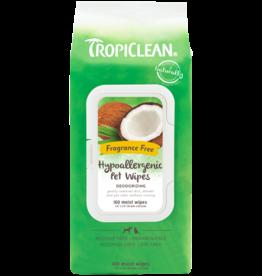 TropiClean Fragrance Free Hypoallergenic Deodorising Pet Wipes, 100 pack