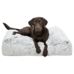 Trixie Harvey Cushion  Rectangle Dog Bed, White & Black Fur
