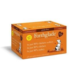 Forthglade Just Chicken, Chicken with Liver & Turkey Grain Free 2 Months + Wet Dog Food, Variety Pack 12 x 395g