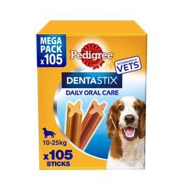 Pedigree Dentastix Daily Adult 1+ Dental Dog Chews, 105 Stick  Medium  Dog 10- 25kg