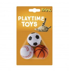 Sports Balls Cat Toy, 3 pack