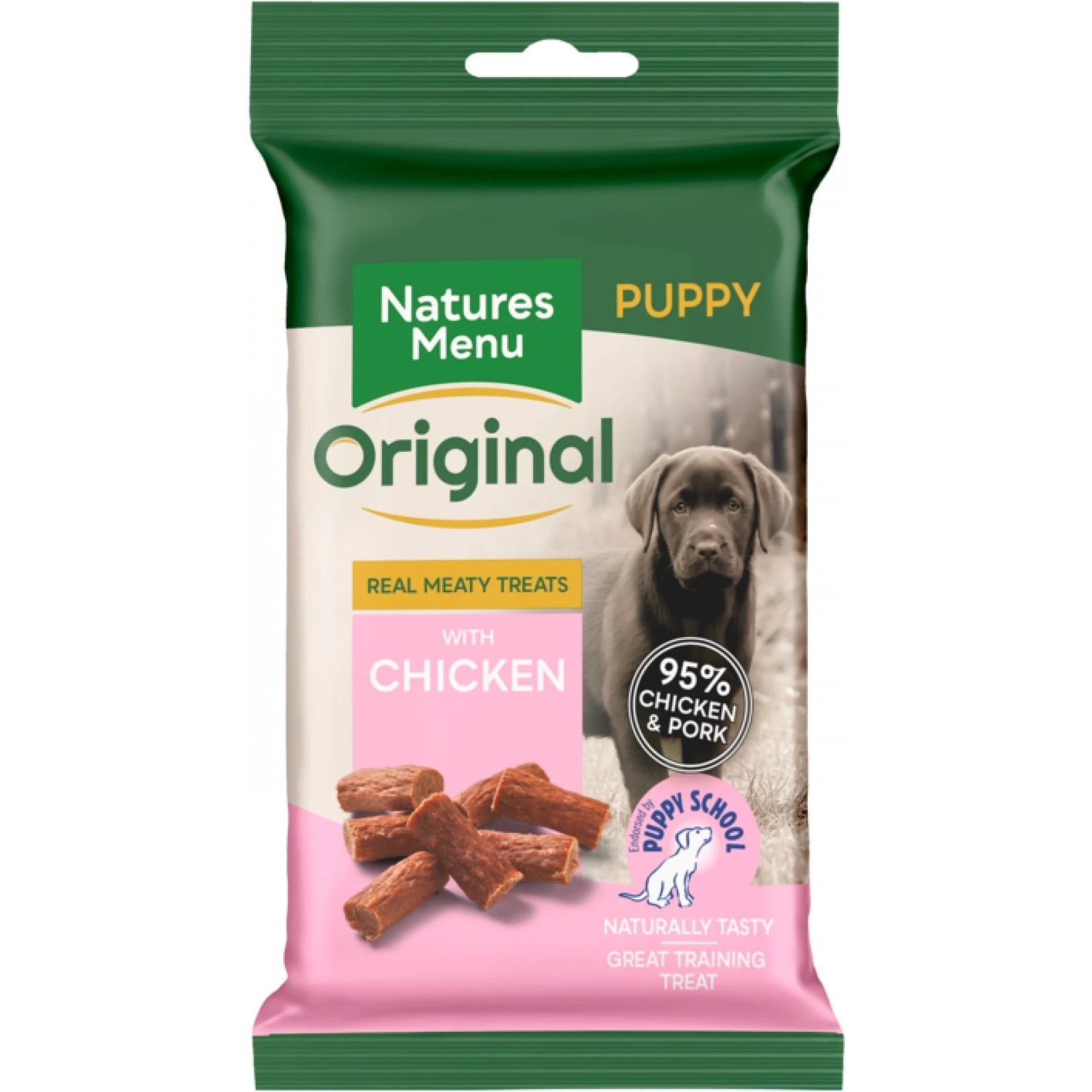 natures menu Real Meaty Grain Free Chicken Puppy Treats, 60g