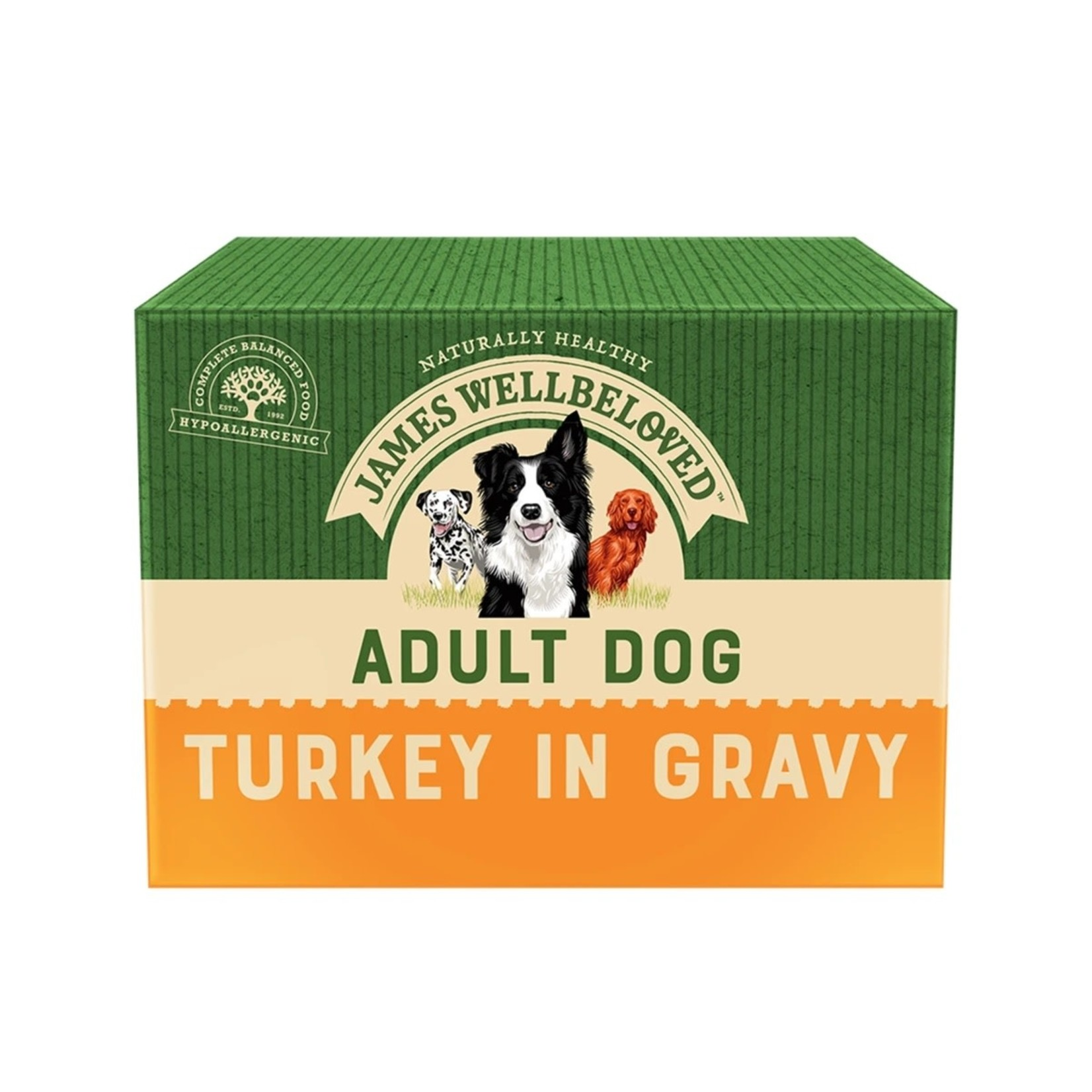 James Wellbeloved Adult Dog Wet Food Pouch Turkey & Rice 150g, Box of 10