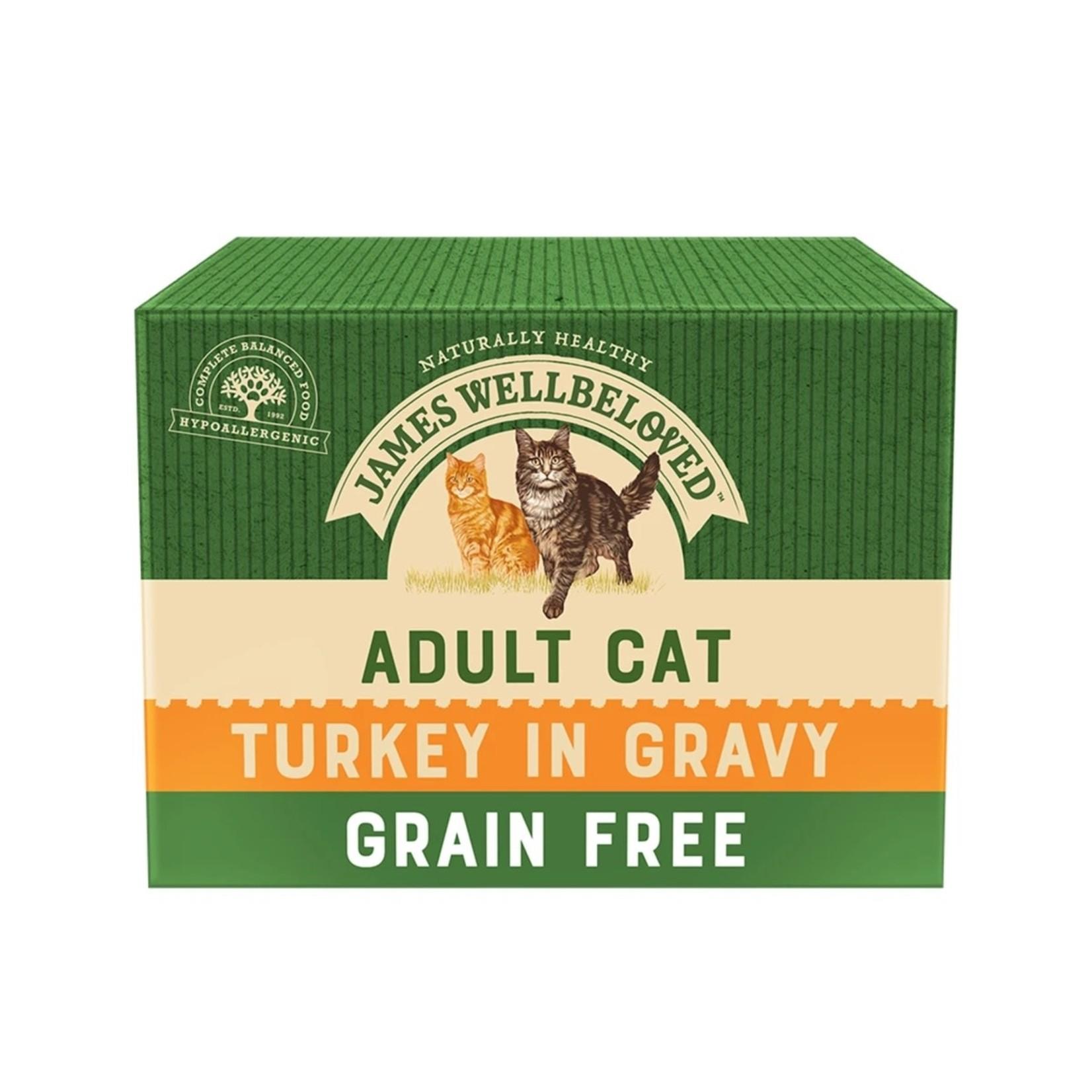 James Wellbeloved Grain Free Adult Cat Wet Food Pouch Turkey, 85g, Box of 12