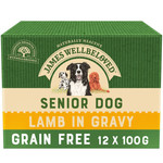 James Wellbeloved Grain Free Senior Dog Wet Food Pouch, Lamb, 100g, Box of 12