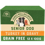 James Wellbeloved Grain Free Senior Dog Wet Food Pouch, Turkey, 100g, Box of 12