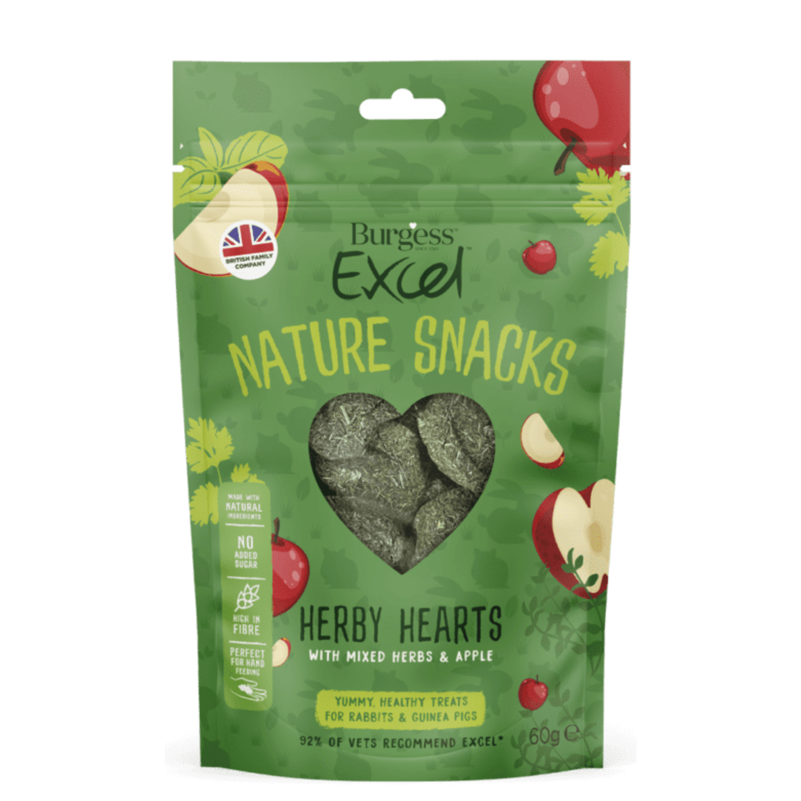 Burgess Excel Nature Snacks Herby Hearts with Mixed Herbs & Apple Small Animal Treat, 60g