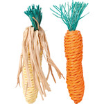 Trixie Sisal Carrot and Corn Small Animal Toy, 15cm