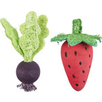 Trixie Wooden & Loofah Small Animal Toys, Strawberry & Beetroot, 6/9cm, 2 pack