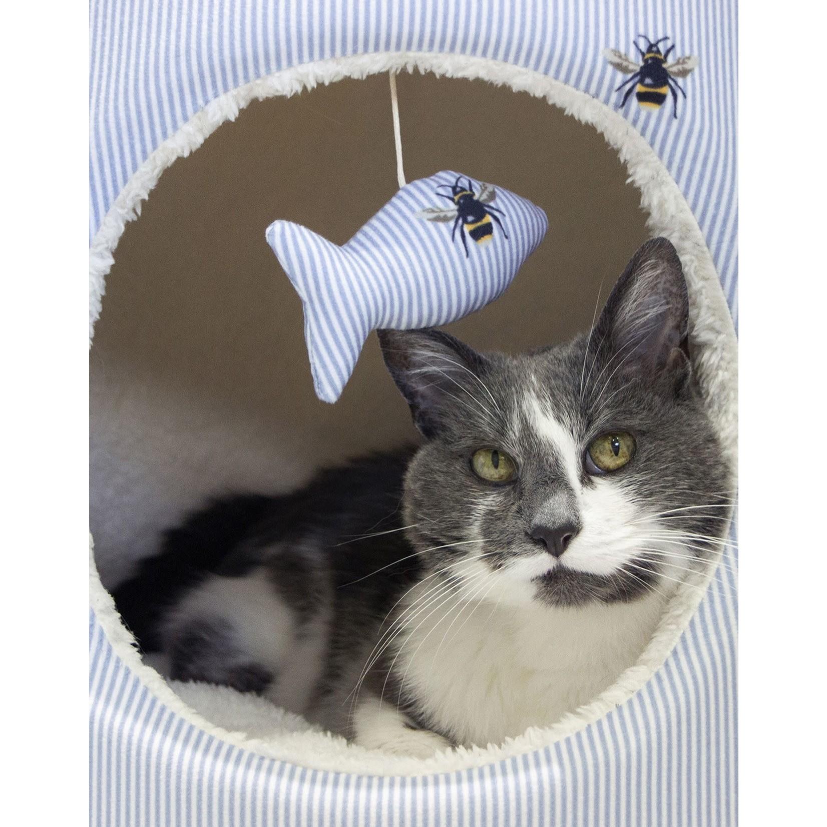 Joules Bee Print Hideaway Hooded Cat Bed, 42 x 42 42cm