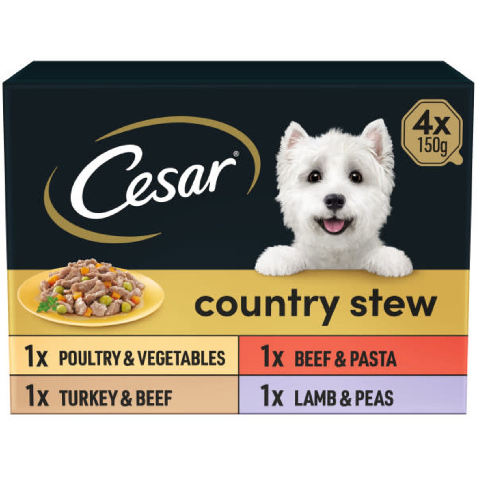 Cesar Adult Dog Wet Food Tray Country Stew Selection, 4 x 150g