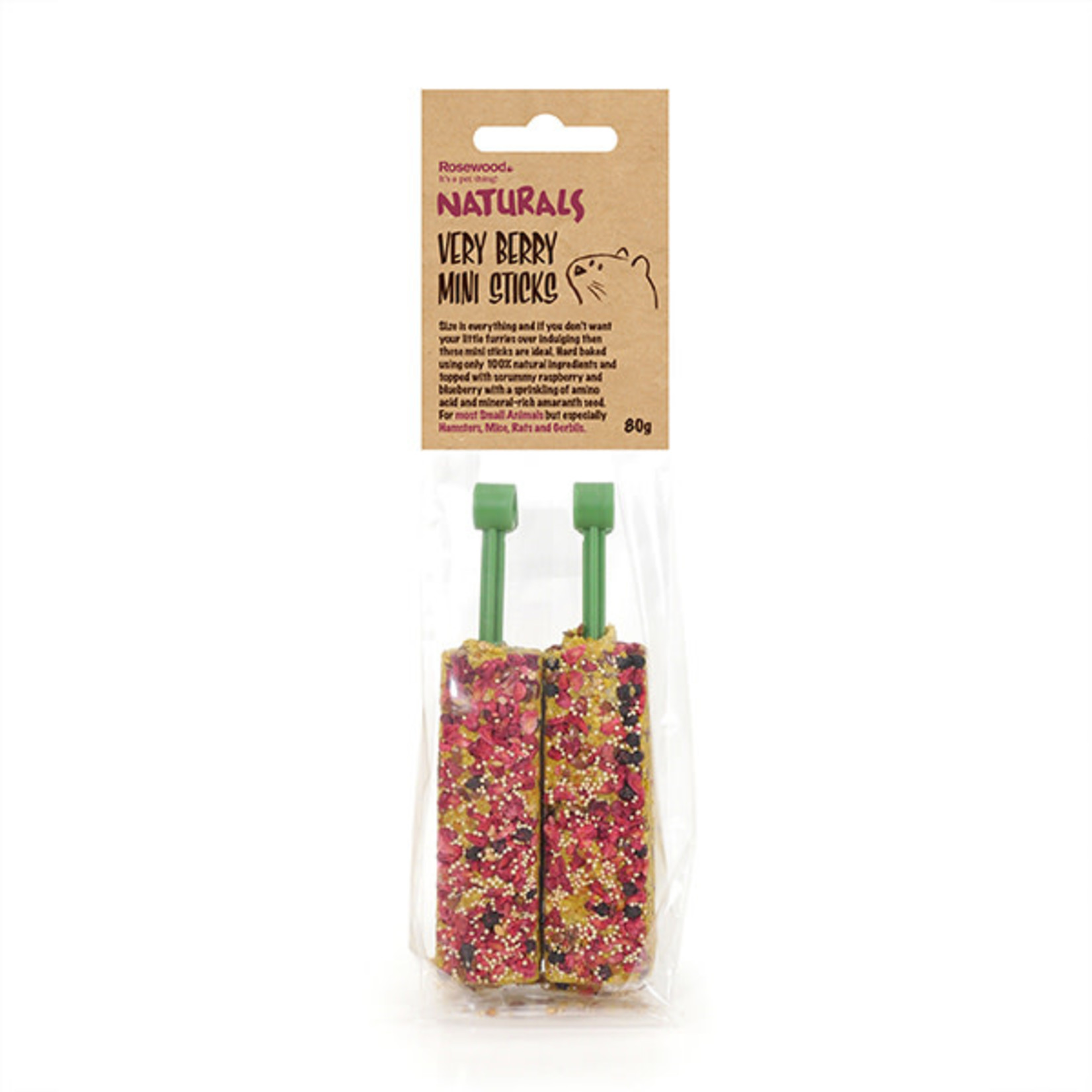 Rosewood Boredom Breaker Naturals Very Berry Mini Sticks Small Animal Treat, 2 pack