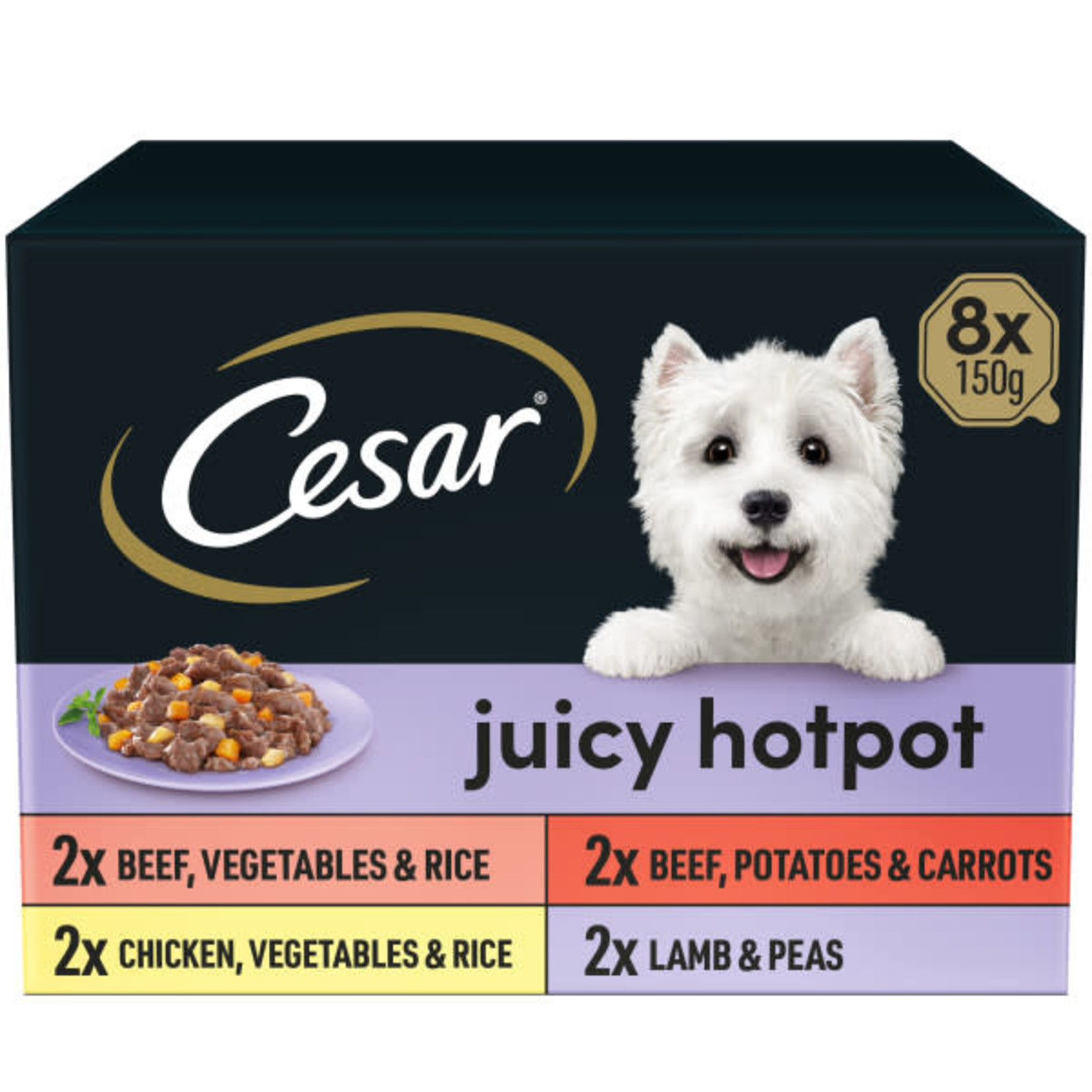 Cesar Adult Dog Wet Food Tray Juicy Hotpot Selection, 8 x 150g