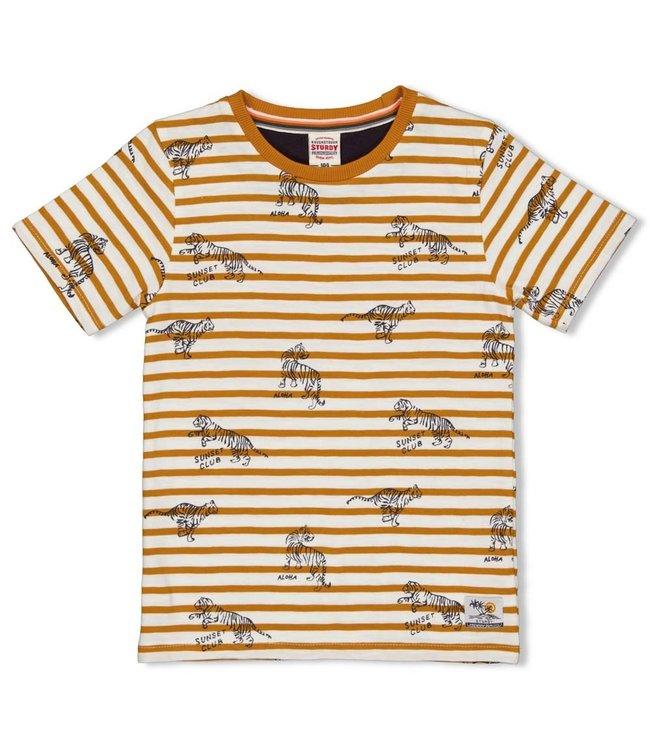 Sturdy T-Shirt Streep Happy Camper Okergeel