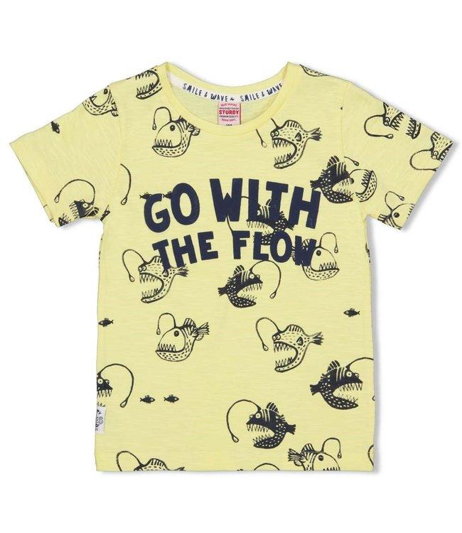 Sturdy T-shirt AOP Smile & Wave Geel