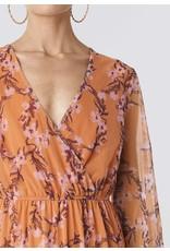 FLORAL MESH DRESS ORANGE
