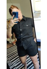 BELTED PLAYSUIT BLACK