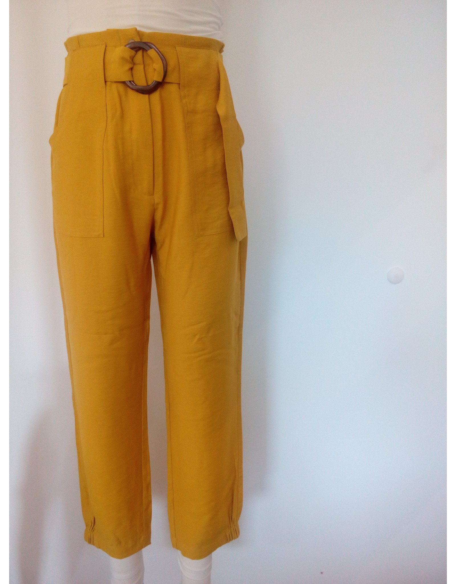 BELTED LINEN LOOK TROUSERS YELLOW