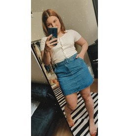 BELTED JEANS SKIRT