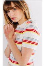 STRIPED SEVENTIES TOP WHITE