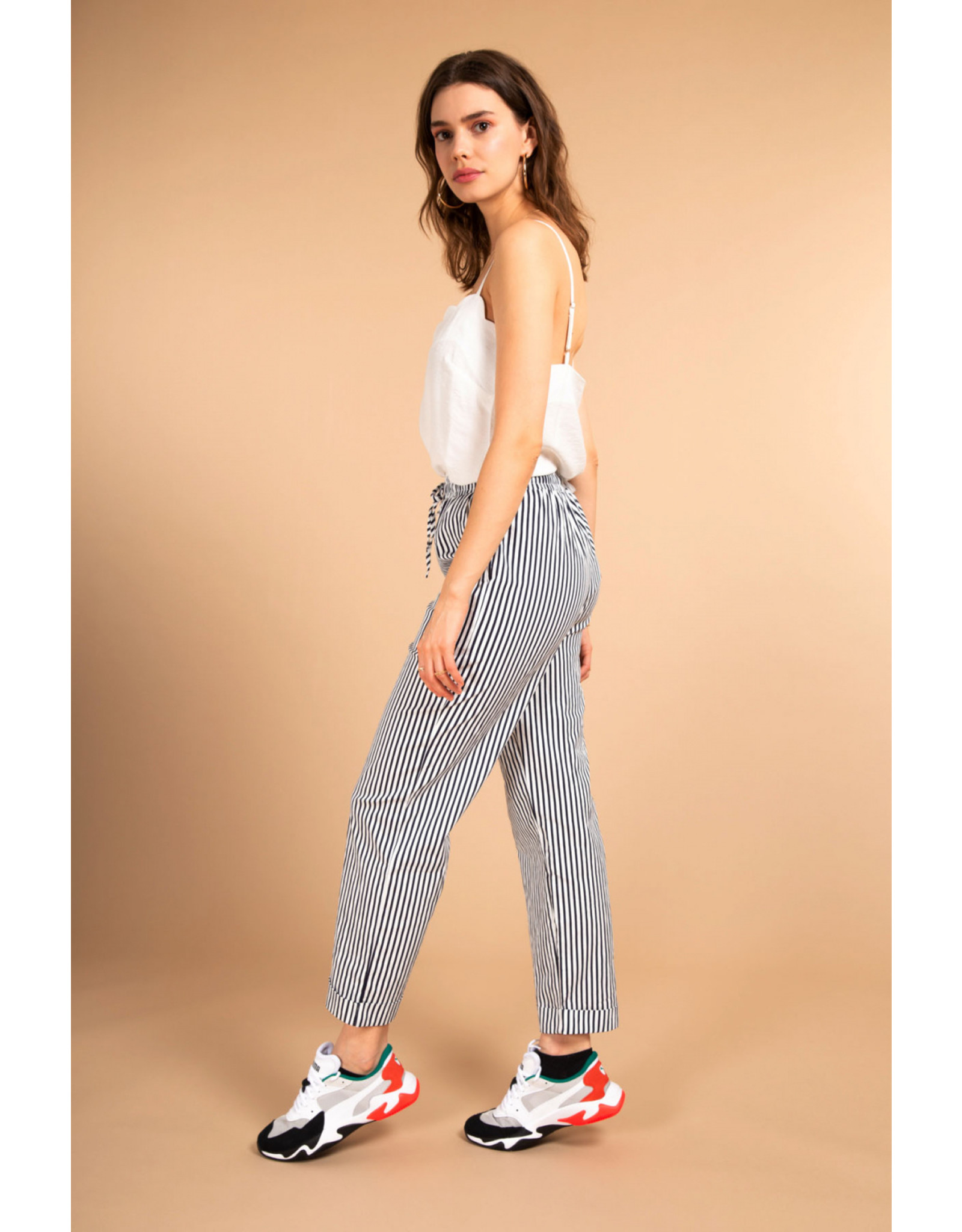 STRIPED TROUSERS NAVY BLUE