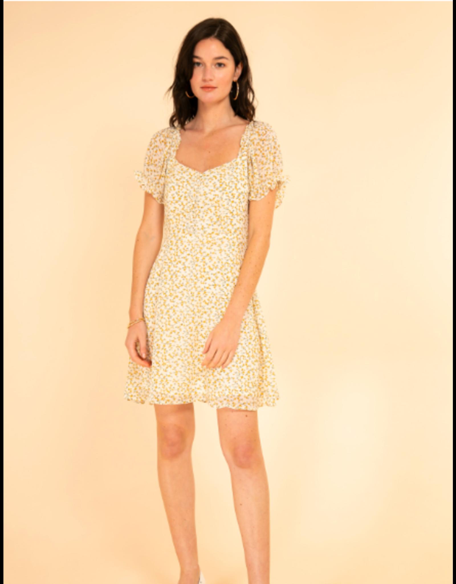 ROMANTIC DRESS WHITE/YELLOW