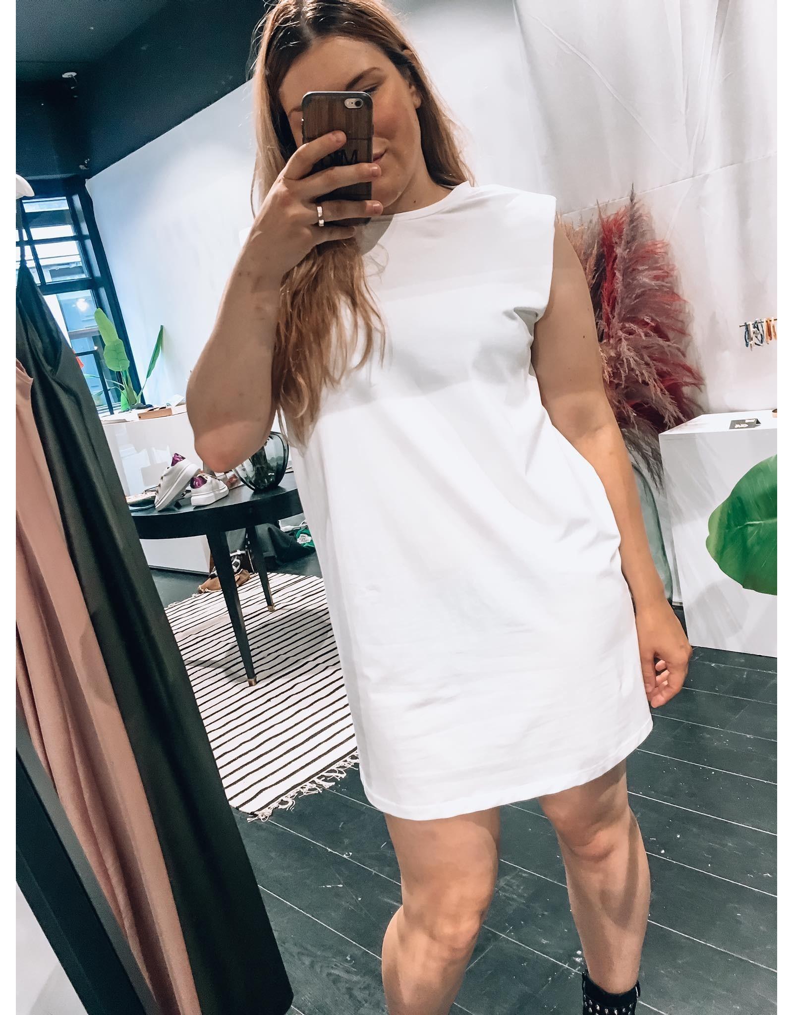 EPAULETTE DRESS WHITE