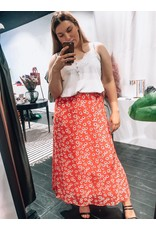 FLORAL SKIRT RED